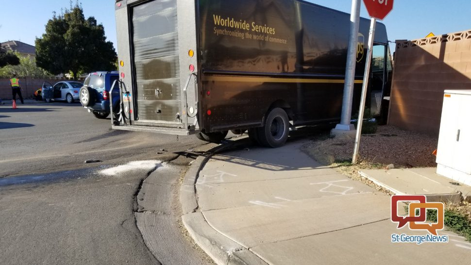 Passenger car collides with UPS delivery truck – St George News