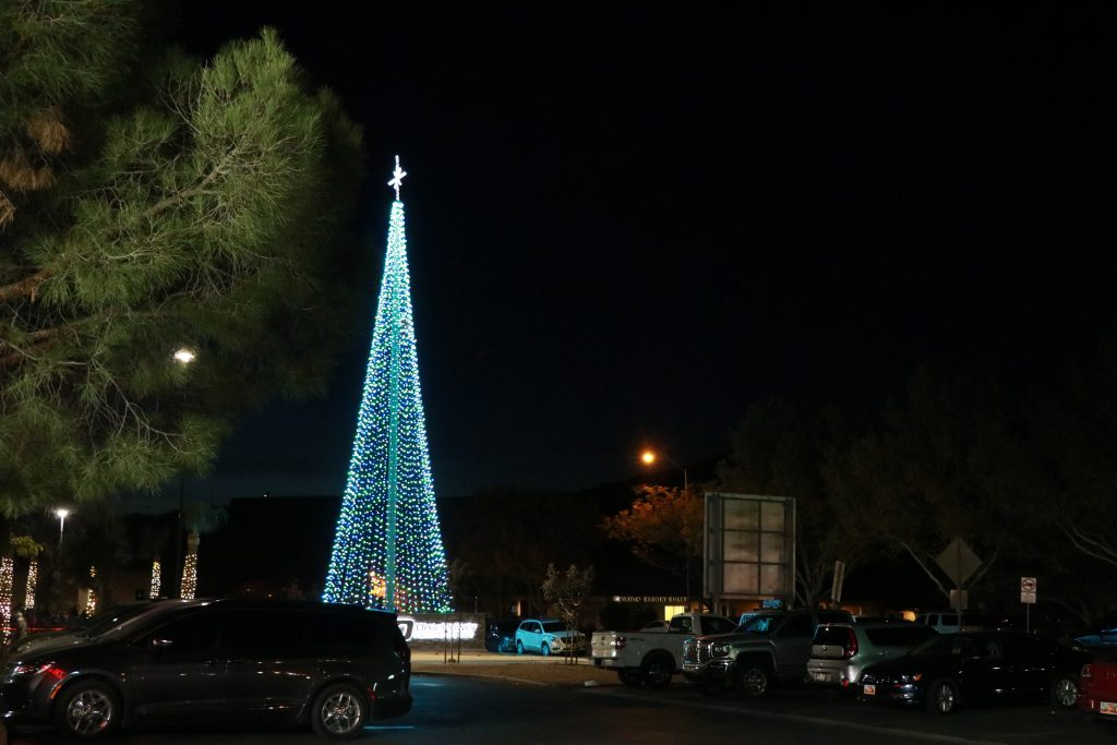 An 80-foot Christmas tree is lighted during Dixie Poweru0027s holiday ceremony St. George Utah Nov. 28 2017 | Photo by Jeff Richards St. George News & Dixie Power lights up giant u0027treeu0027 for holidays u2013 St George News