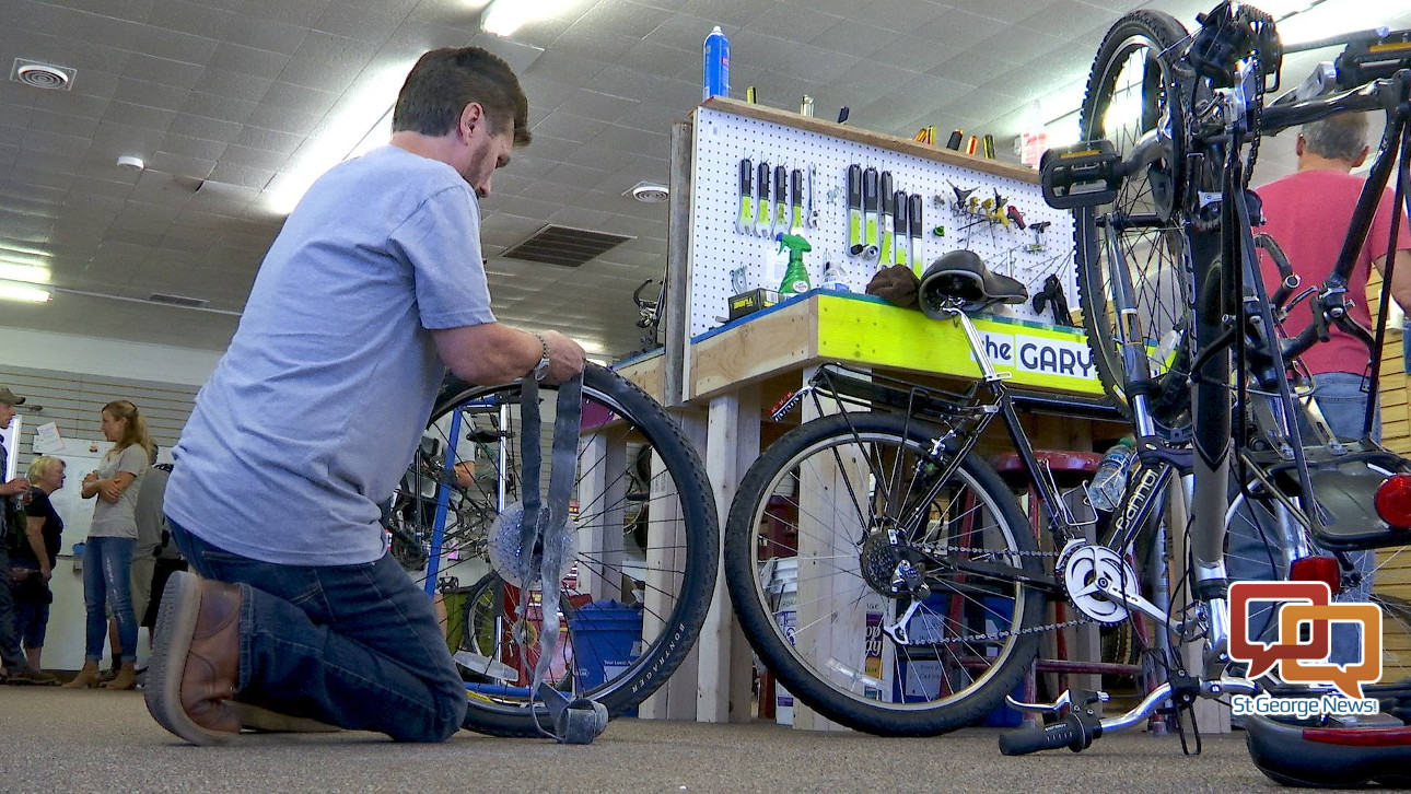 e56a02097da A volunteer works at the St. George Bicycle Collective grand opening, St.  George, Utah, Oct. 28, 2017 | File photo by Sheldon Demke, St. George News