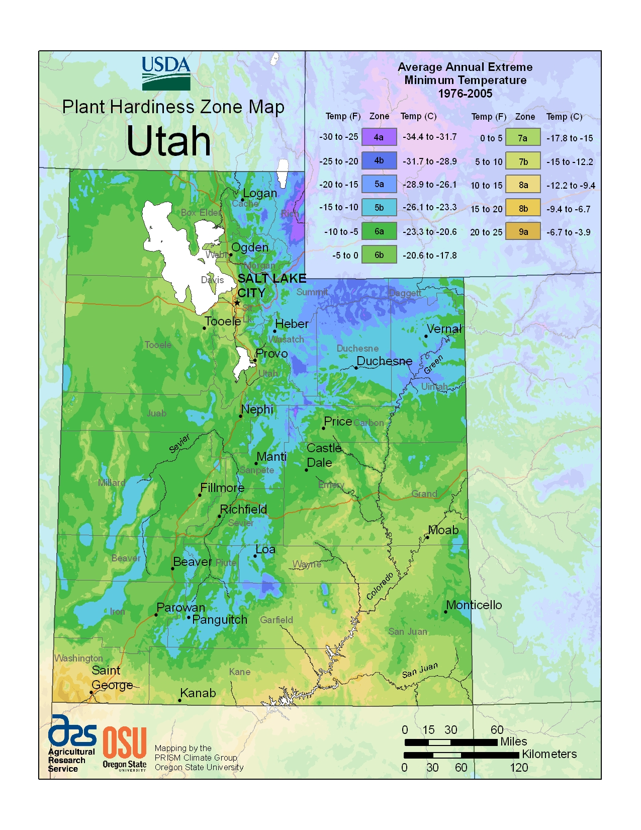 hardiness zones in utah map courtesy of the u s department of agriculture st george news