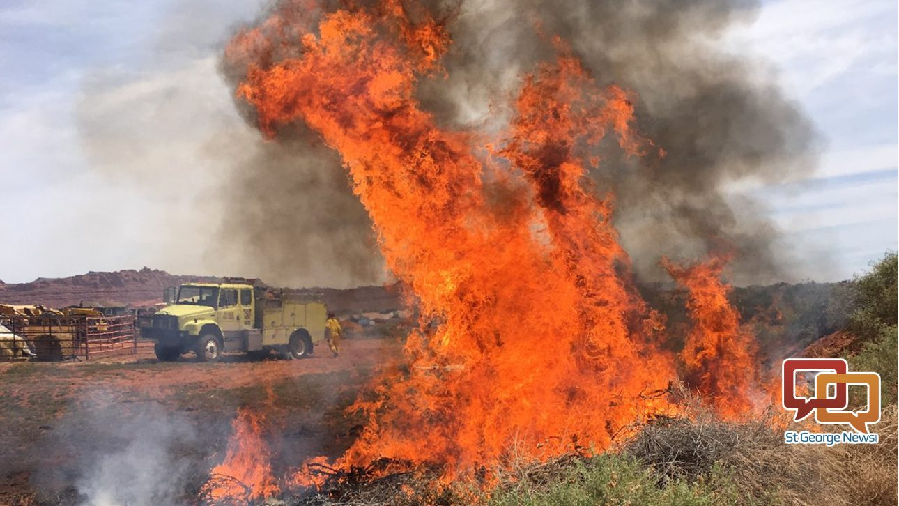 Wind Causes Brush Fire To Spread In Ivins