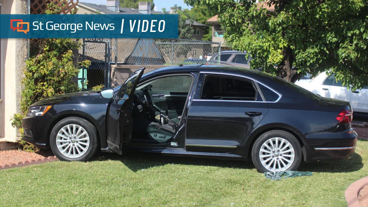 bystanders shatter car window  unresponsive woman runs car  home st george news