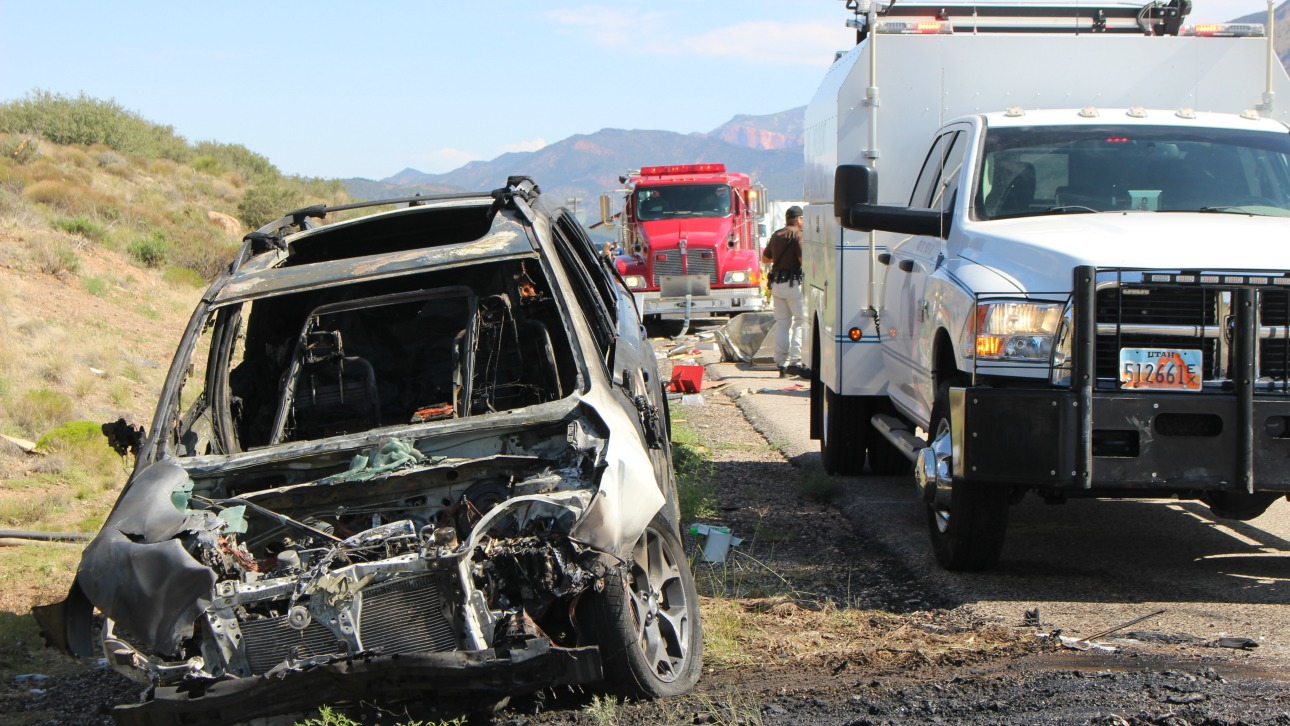 Crash involving car fire and obliterated trailer triggers