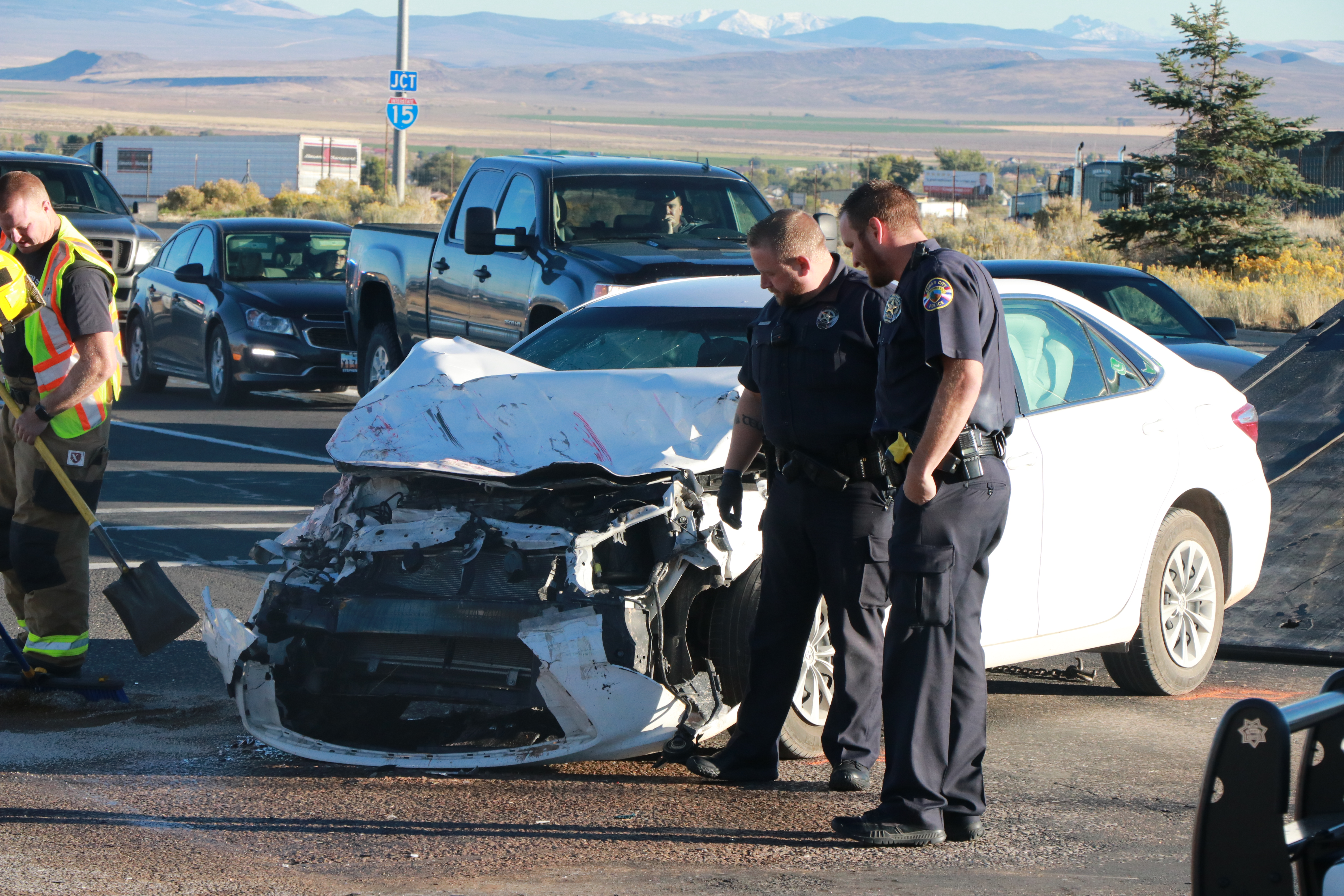 2 vehicles collide in cedar city intersection with enough force to
