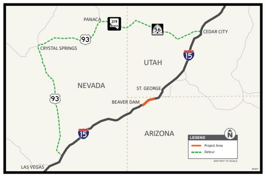 Map Of Arizona And Vegas.Virgin River Gorge Roadwork Will Cause 224 Mile Detour For Some