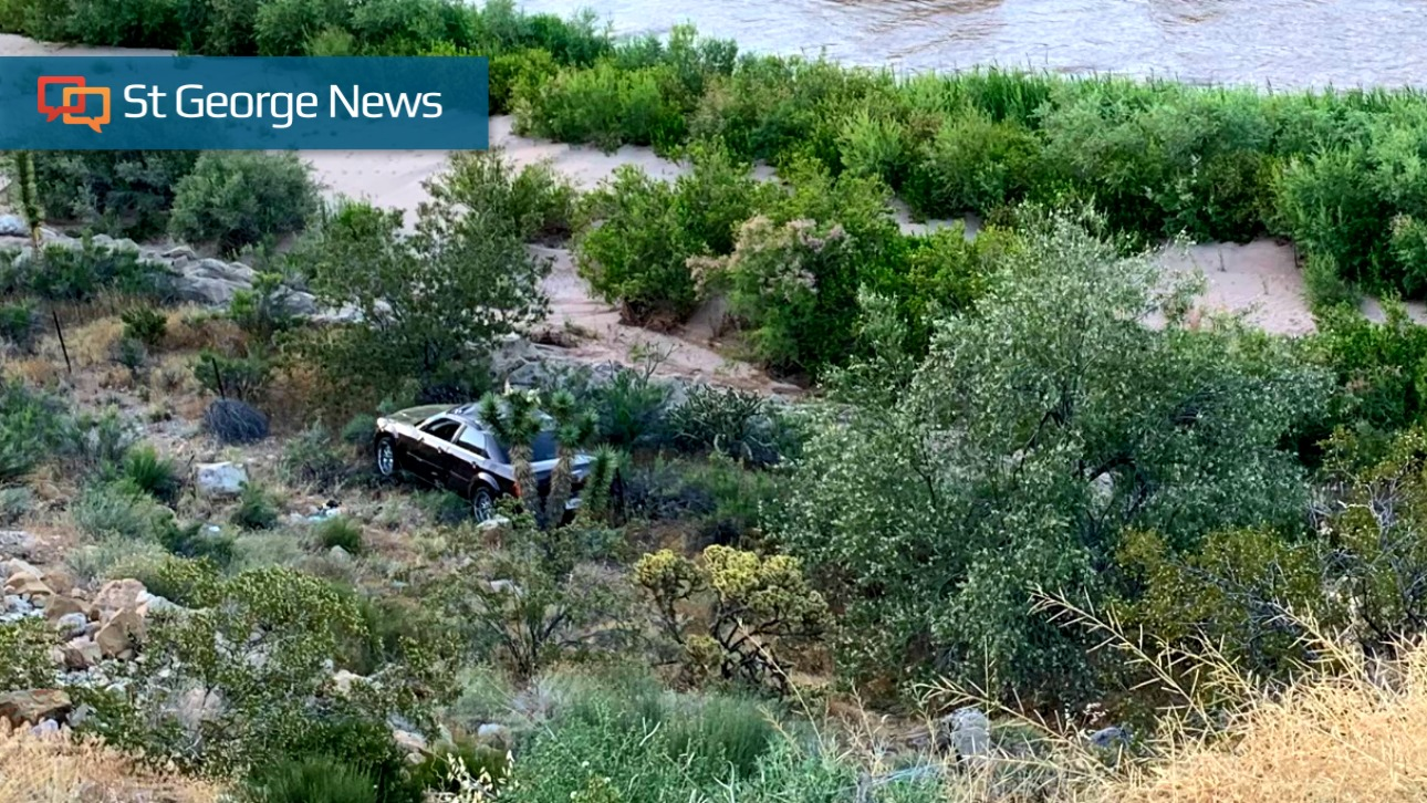 Chrysler Launches Down 50-foot Embankment In Gorge After