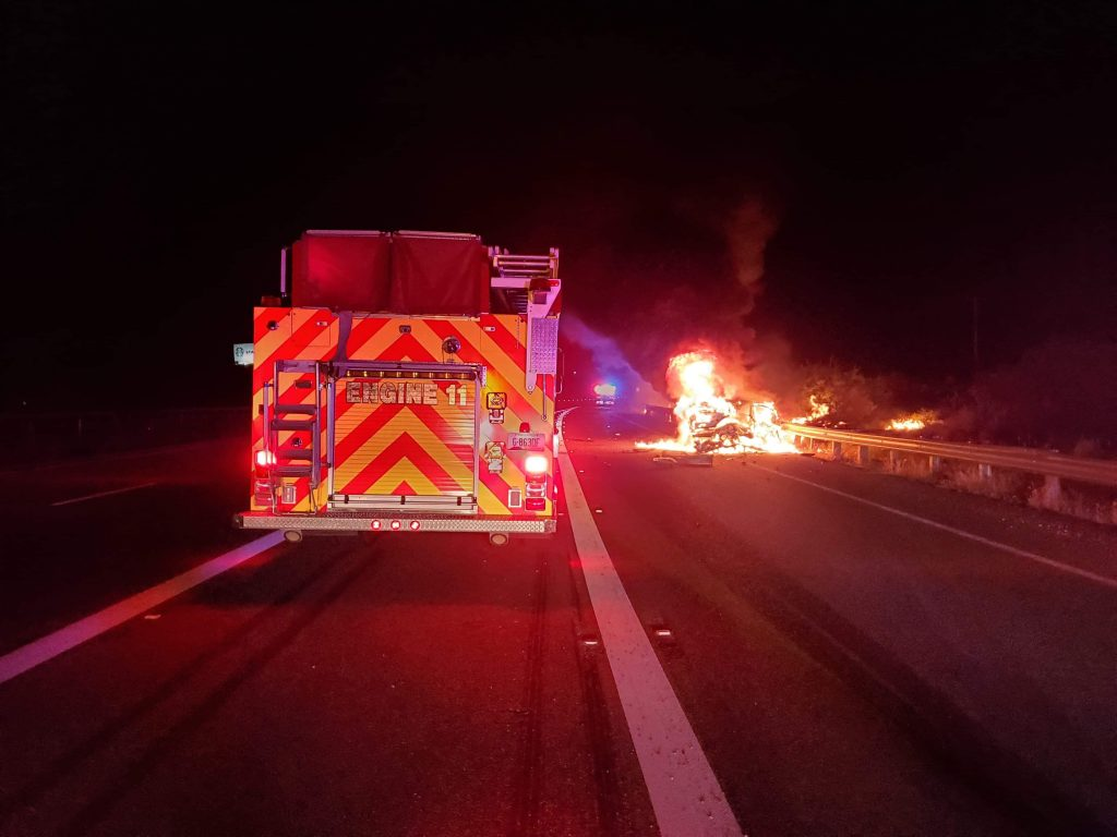 Police: Car bursts into flames after 3-vehicle crash
