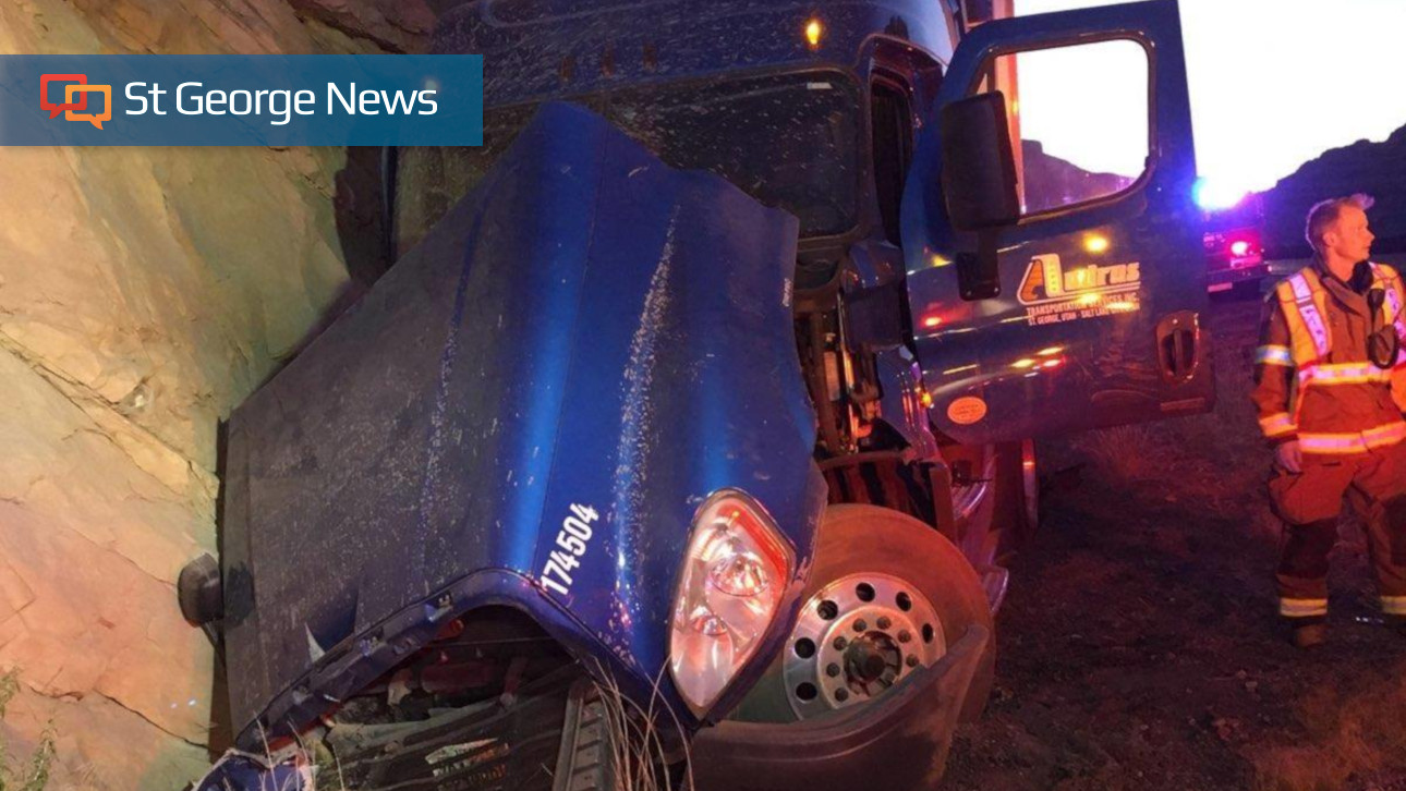 Driver Sent To Hospital After Semi Blows Tire, Crashes In