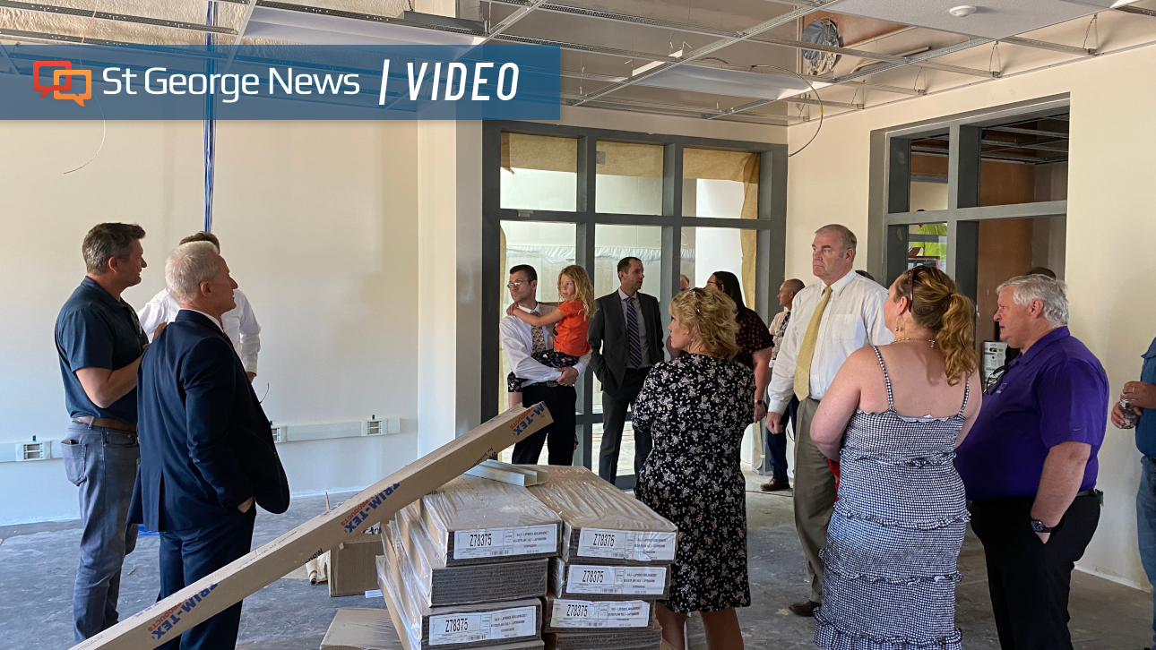 School board members and Hildale city officials tour new facilities at Water Canyon High School